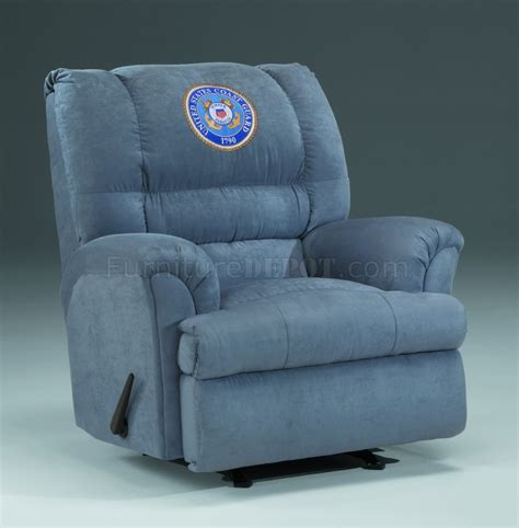 modern rocker recliners slate fabric modern rocker recliner w us coast guard emblem