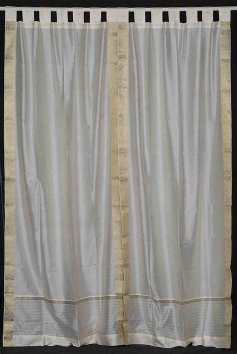 tab top sheer curtain panels cream tab top sheer sari curtain drape panel pair ebay
