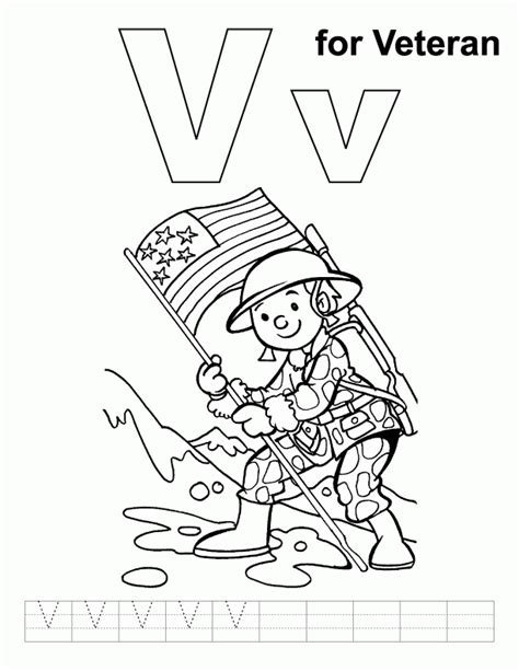 V For Veteran Coloring Page With Handwriting Practice Coloring Pages For Veterans