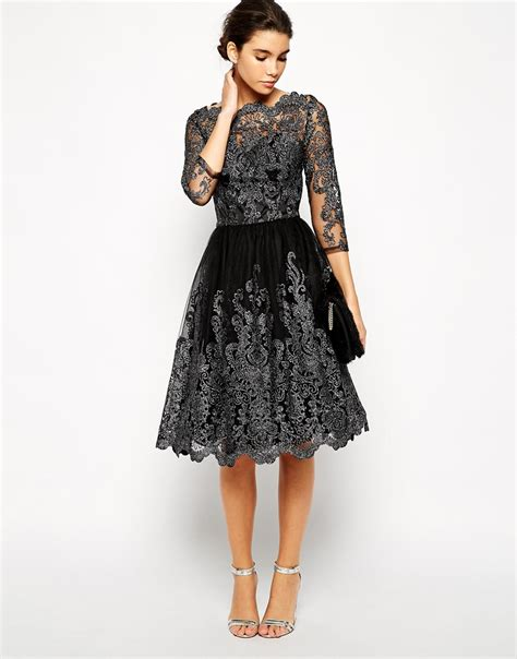 chi chi premium metallic lace midi prom dress with bardot neck in black lyst