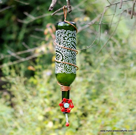 wine bottle hummingbird feeder my so called crafty life