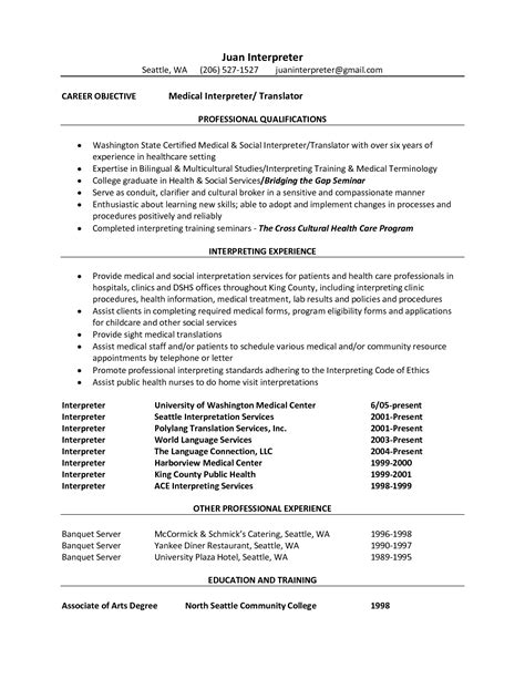 resume translation interpreter resume uxhandy