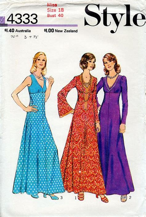 free pattern empire waist dress 1970s boho maxi dress pattern style 4333 vintage sewing