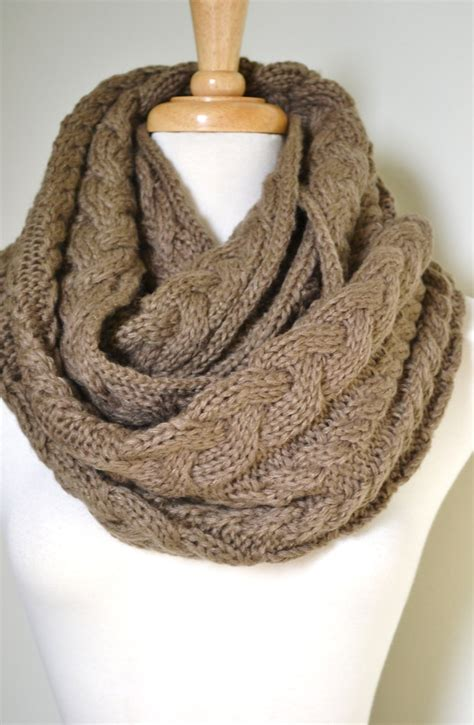 knitting infinity scarves cable knit infinity scarf in taupe yikes