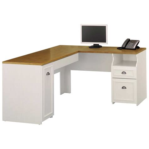 L Shaped Desk With Storage Wooden L Shaped Computer Desk With Storage In Brown And White Colors Combination Decofurnish