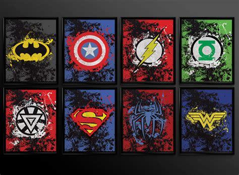 superhero wall decorations a superhero wall decor 3d set of 2 prints superhero wall art decor superman batman