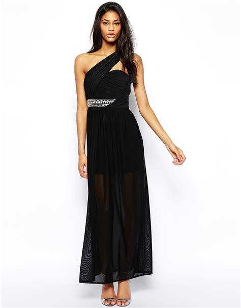 tfnc one shoulder maxi dress with embellished waist