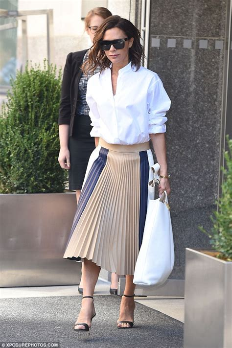 Victory Skirt beckham perfects business chic in stylish blouse