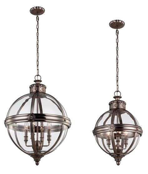 Vintage Orb Style Antique Nickel And Glass Chandelier Glass Orb Chandelier