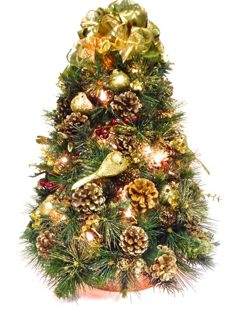 table top christmas tree gold 24 pre lit bright white