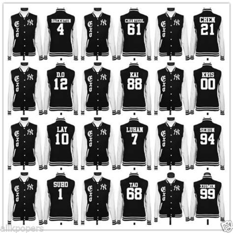Jaket Varsity Exo D O By Your8shop details about kpop exo baseball luhan xiumin