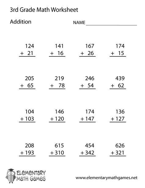 Addition And Subtraction Worksheets For Grade by Third Grade Addition Worksheet