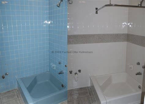 Shower Tile Resurfacing by Before After 171 Bathtub Refinishing Tile Reglazing