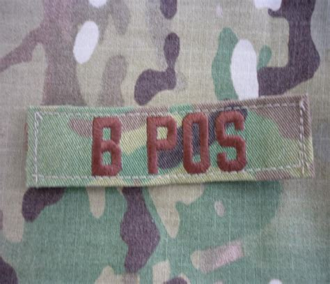 Emerson Blood Type Velcro Patch B Pos us army ocp multicam blood type blutgruppe b pos patch