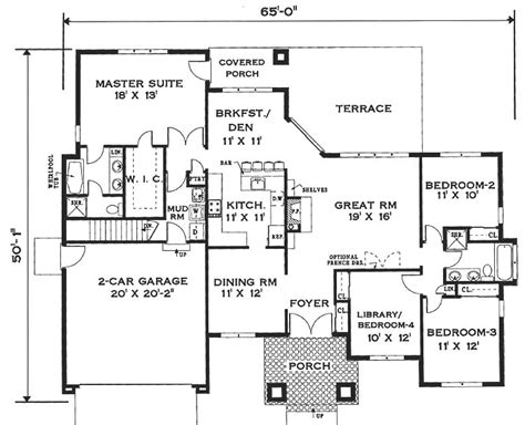 single storey house floor plan design elegant one story home 6994 4 bedrooms and 2 5 baths