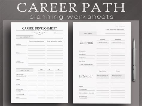 career pathway planning worksheet career path worksheets 4 printable planner by neatandcorporate