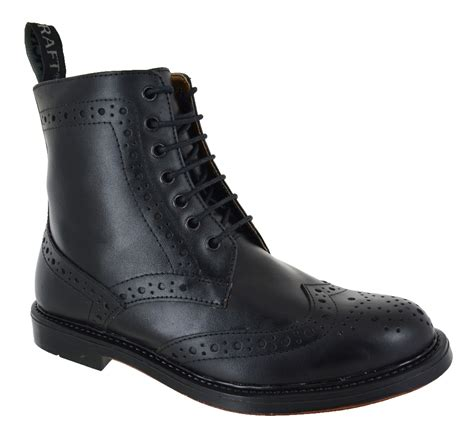 leather sole boots new mens chelsea dealer lace up brogue black leather