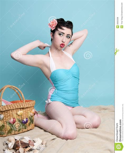 Beach Pinup Girl Royalty Free Stock Photos   Image: 26953598