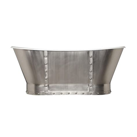 67quot brayden bateau cast iron skirted tub with stainless