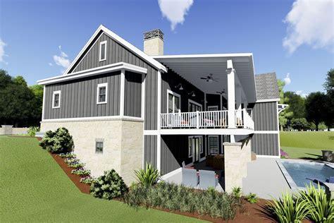 plan sc gorgeous farmhouse plan   rear sloping