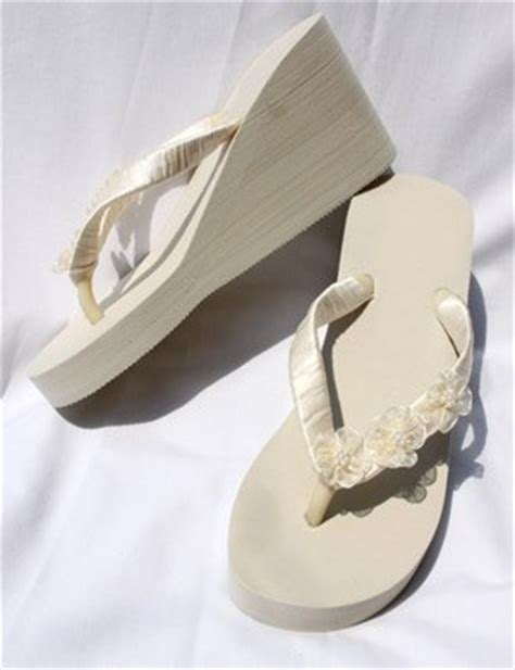 Ivory Wedge Sandals For Wedding by Ivory High Wedge Flip Flops Wedding Sandals With Flowers