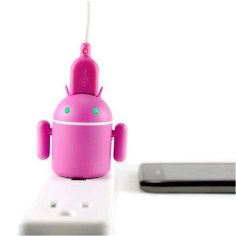 Travel Charger Robot Android 2 1 A karendeals original pink android robot micro usb