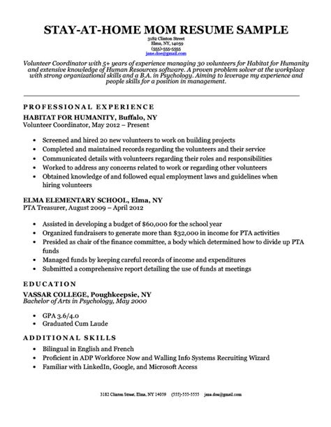 Resumes For Stay At Home by Stay At Home Resume Twnctry