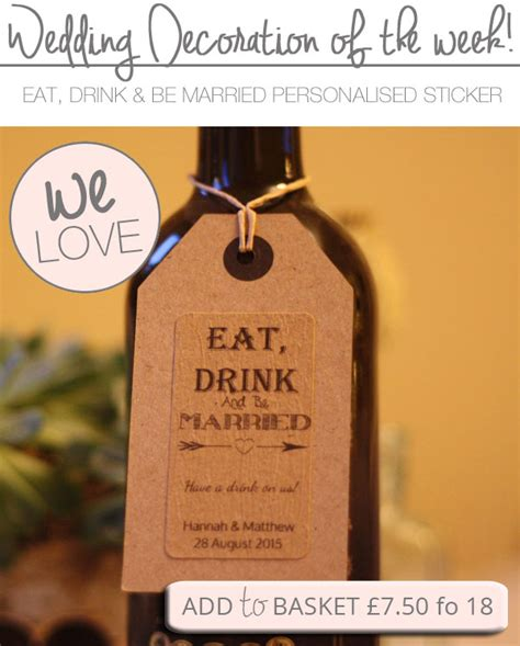 gifts to eat eat drink and be married stickers can be personalised