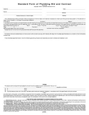 Plumbing Contract Forms by Plumbing Contract Fill Printable Fillable