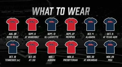 ole miss colors 2014 ole miss football color schedule day