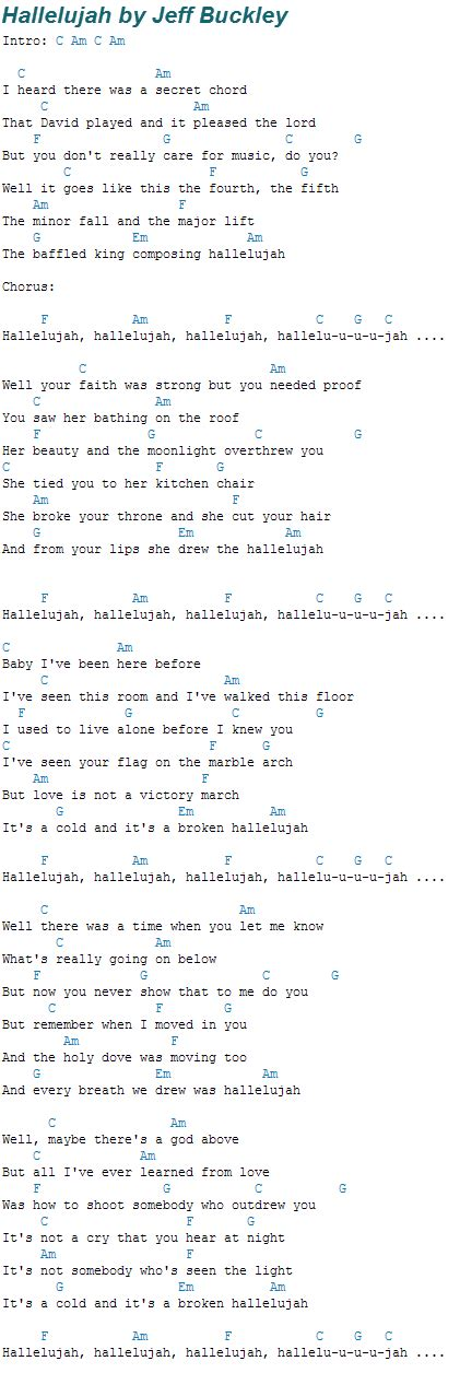 printable hallelujah lyrics jeff buckley hallelujah by jeff buckley guitar alliance