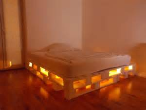 Wood Pallet Bed Frame With Lights Double Bed Build With 8 Europalletsdiy Pallet Furniture