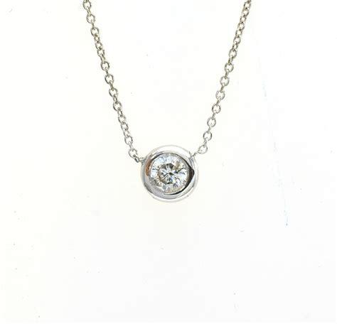 14k white gold bezel set pendant necklace