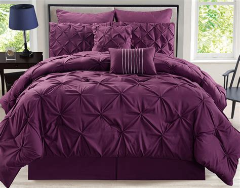 8 Piece Rochelle Pinched Pleat Plum Comforter Set