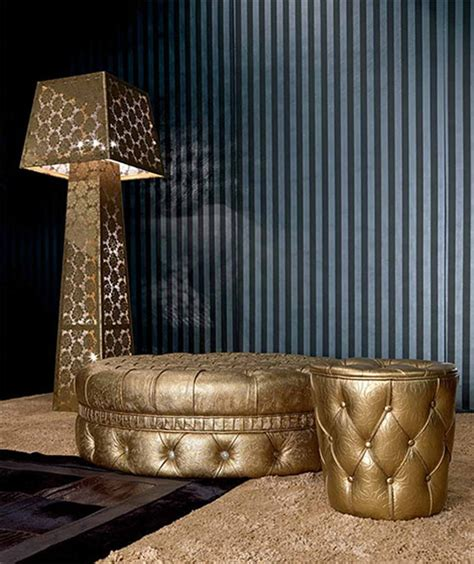 Gold Leather Ottoman Leather Gold Ottomans Gold