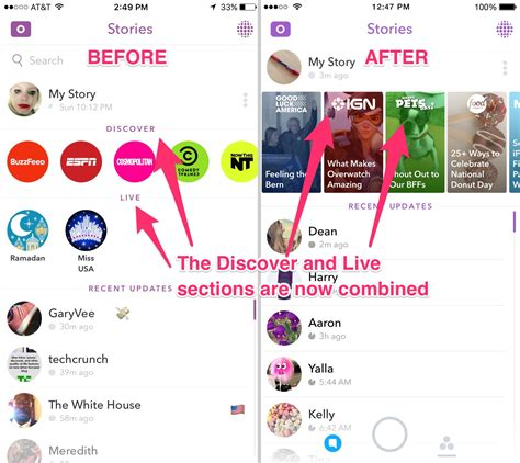before and after updating a snapchat just launched a redesign to get to