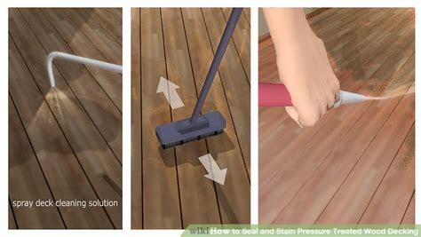 seal  stain pressure treated wood decking  steps