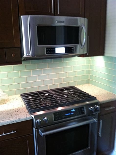 subway tile backsplash in kitchen surf glass subway tile 3x6 for backsplashes showers more