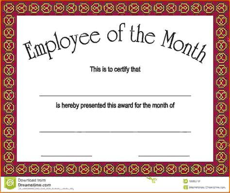 Employee Of The Month Certificate Template With Picture by Employee Of The Month Certificatesreference Letters Words