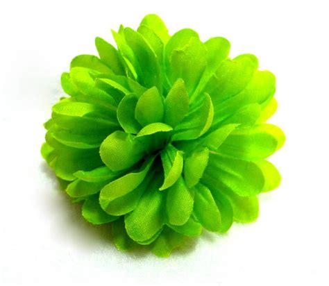 lime green mum flower hair clip