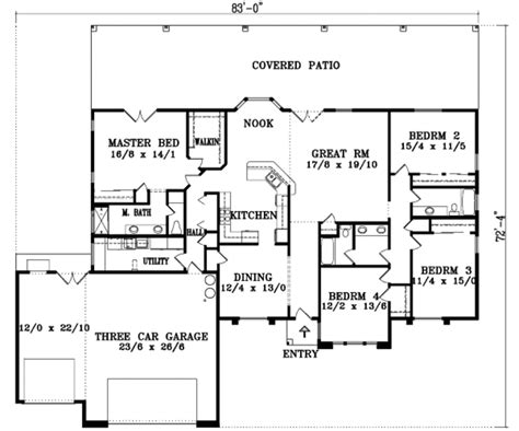 Traditional Plan 3 065 Square 4 Bedrooms 3 Traditional Style House Plan 4 Beds 3 Baths 2526 Sq Ft