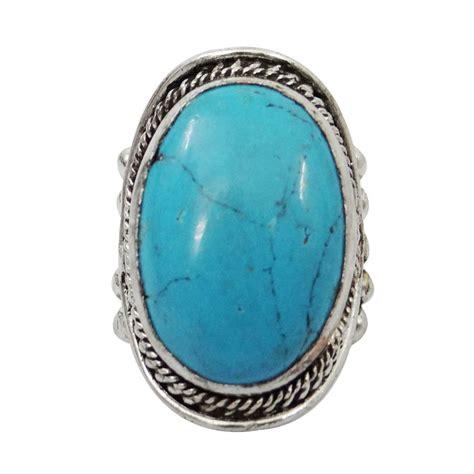 silver tone turquoise metal ring fashion