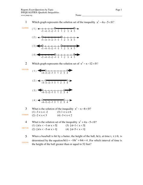 Quadratic Inequalities Worksheet by 10 Best Images Of Quadratic Inequality Worksheet