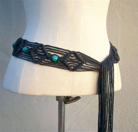 Easy Macrame Belt Patterns - vintage macrame belt black hemp turquoise wood