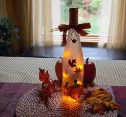 lighted thanksgiving decorations thanksgiving decoration wine bottle light autumn leaves and