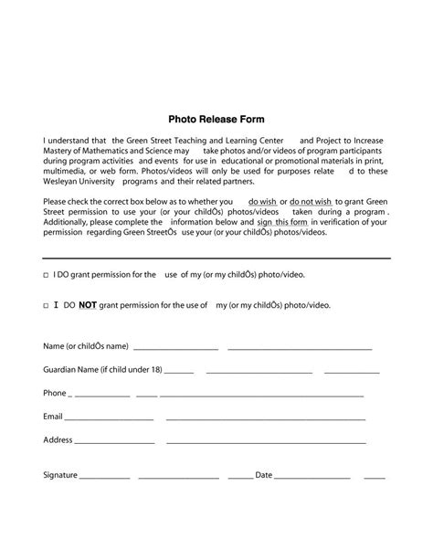 Photo Waiver Release Form Template by 53 Free Photo Release Form Templates Word Pdf