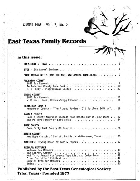 Desoto County Marriage Records East Family Records Volume 7 Number 2 Summer 1983