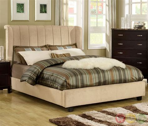 velvet bedroom furniture maywood beige platform bedroom set with padded velvet cm7025