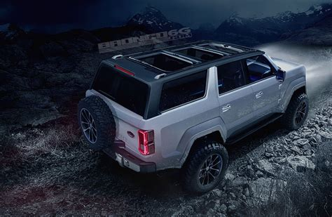 jeep bronco 2020 ford bronco shows jeep wrangler proportions tailgate