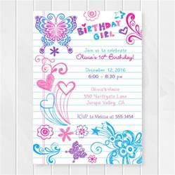 notebook doodles tween birthday invitation birthday